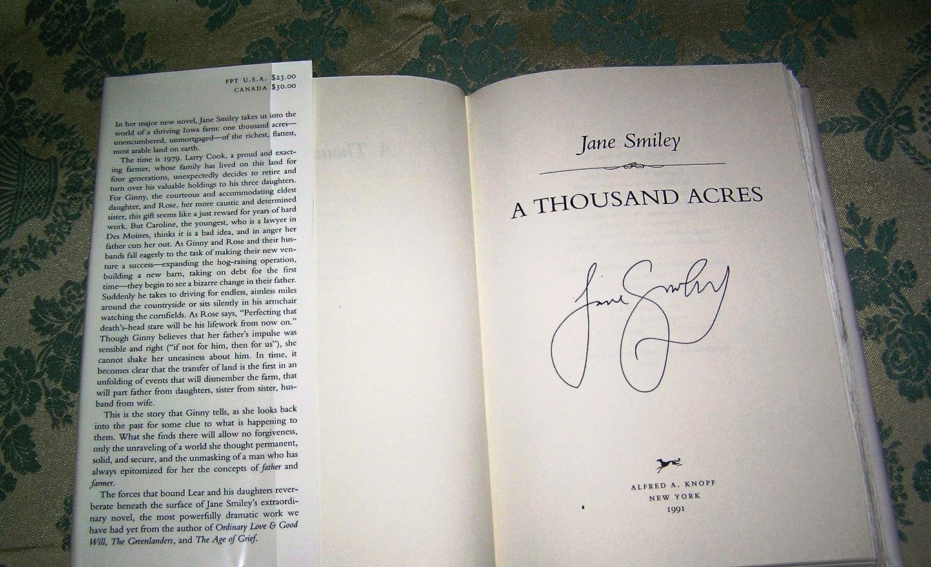 a review of jane smileys book a thousand acres Book review: jane smiley  who has mined the heartland for material before in the academic satire moo and her pulitzer prize-winning a thousand acres, uses the.